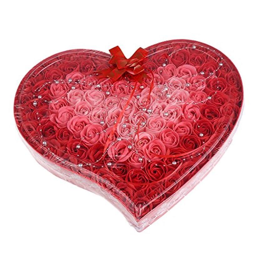 疑わしい運命的な環境Baoblaze 石鹸の花 母の日 プレゼント 石鹸 お花 枯れないお花 心の形 ギフトボックス 約100個 プレゼント 4色選択可 - 赤