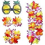 BESTOYARD ハワイ ガーランド パイナップル柄 眼鏡 サングラス 夏 熱帯 パーティー 装飾 面白い ダンスパーティー用品 5点セット