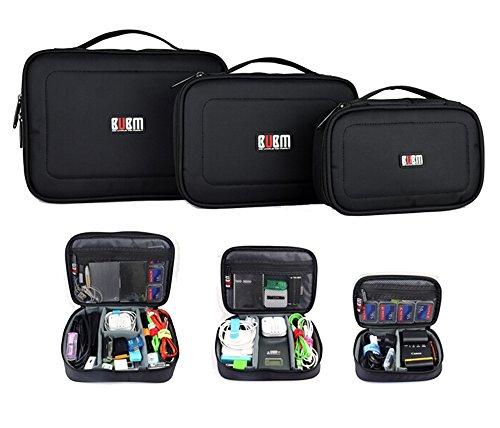 BUBM小物収納バッグ 収納ポーチ3点セット ガジェットポーチ モバイルバッグ PC周辺小物ケーブルなど収納