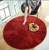 シルキー円形高密度カーペット、リビングルームのベッドルームWindowsアンチスキッドパッド(洗える)