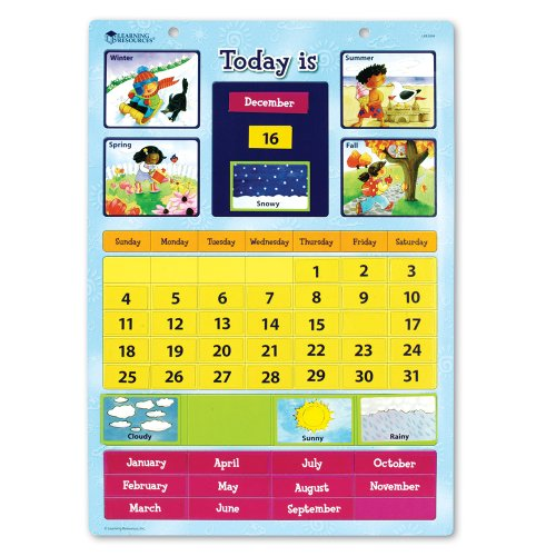 Learning Resources Magnetic Learning Calendar 【英語教材 壁掛けカレンダー】 楽しく学ぶ! マグネットえいごカレンダー 日本語ガイド付き 正規品