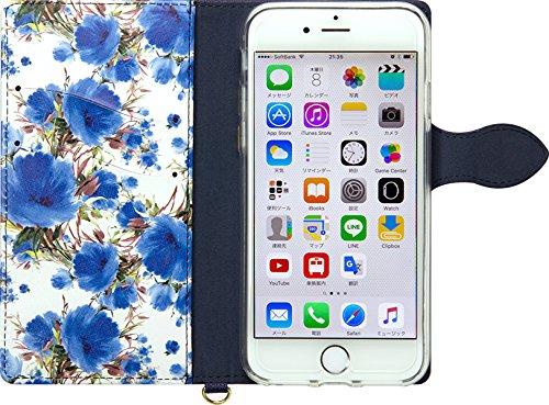 NATURALdesign 手帳型 ケース iPhone7 花柄 フルール カードポケット付 ハンドストラップ付     Navy FLEUR(ネイビー)