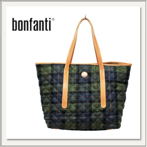 【BONFANTI(ボンファンティ)】 TARTAN BLU-VERDE LARGE FLARED SHOPER BAG 862013  [トートバッグ/ウールバッグ][タータンチェック][鞄/かばん][メンズ][レディス]