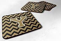 セットの4文字Y ChevronブラックandゴールドFoamコースターのセット4