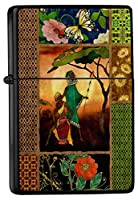 Petrol lighter ライター Printed cards motif african couple flower butterfly