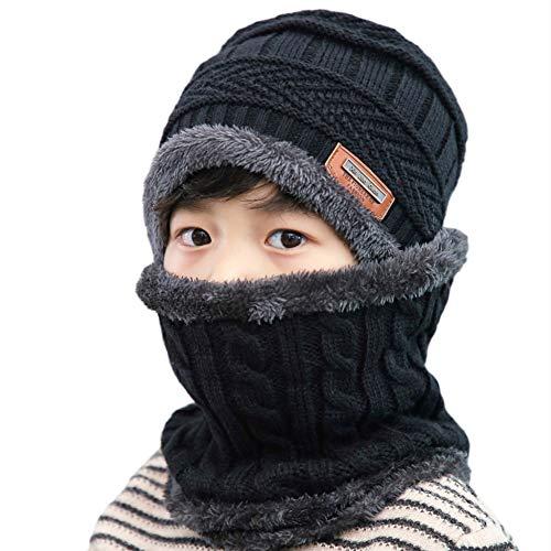 Creacom ニット帽 ネックウォーマー2点セット 子供用あったか ジュニアセット 暖かい 裏起毛 防寒 保温 運...