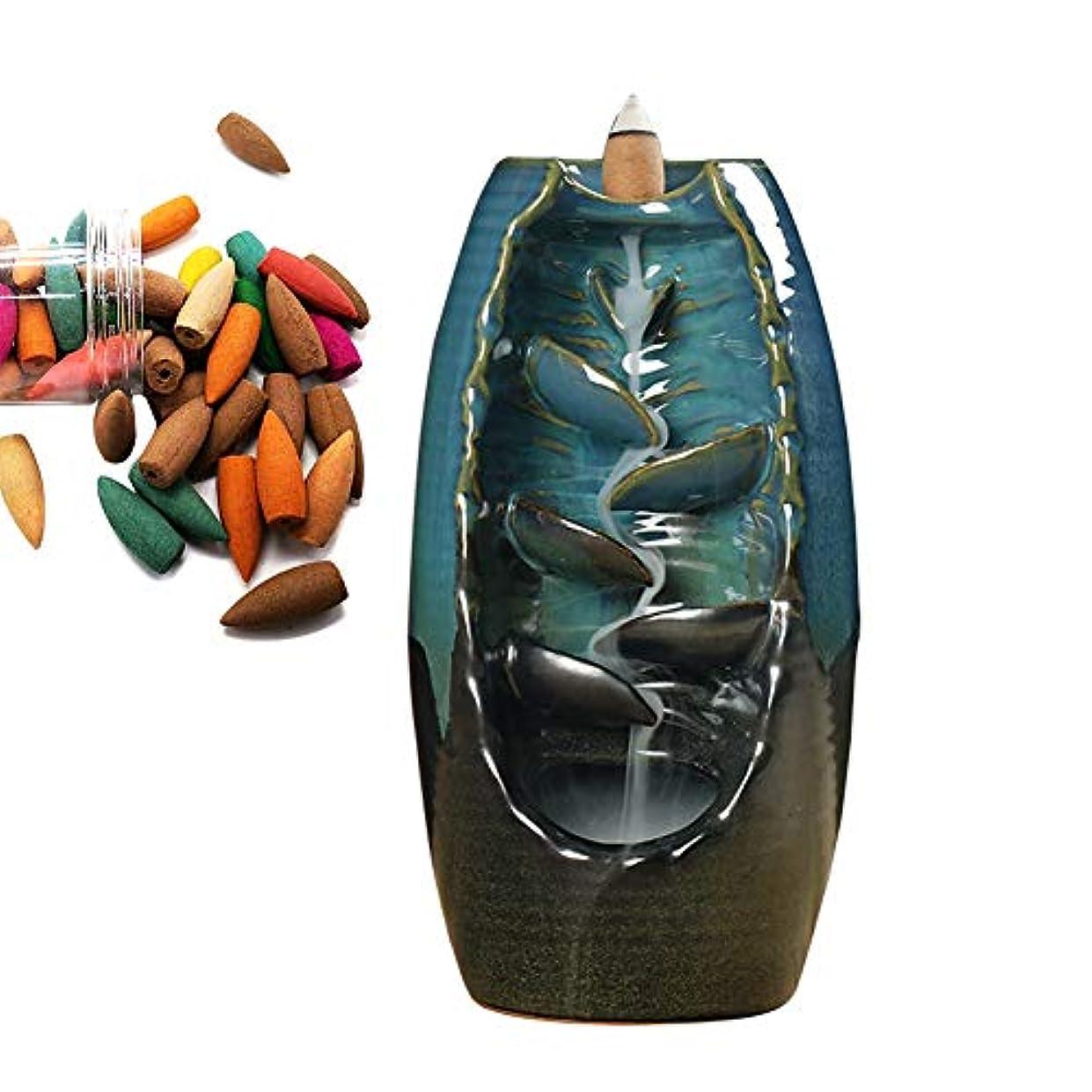 ベーシック完全に構成Aromatherapy,Alligado Ceramic Incense Burner Backflow Zen Mountain River Incense Holder Backflow Incense Ceramic...