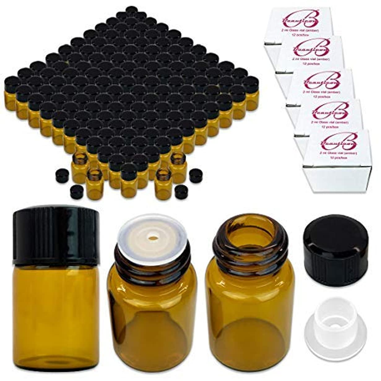 180 Packs Beauticom 2ML Amber Glass Vial for Essential Oils, Aromatherapy, Fragrance, Serums, Spritzes, with Orifice...