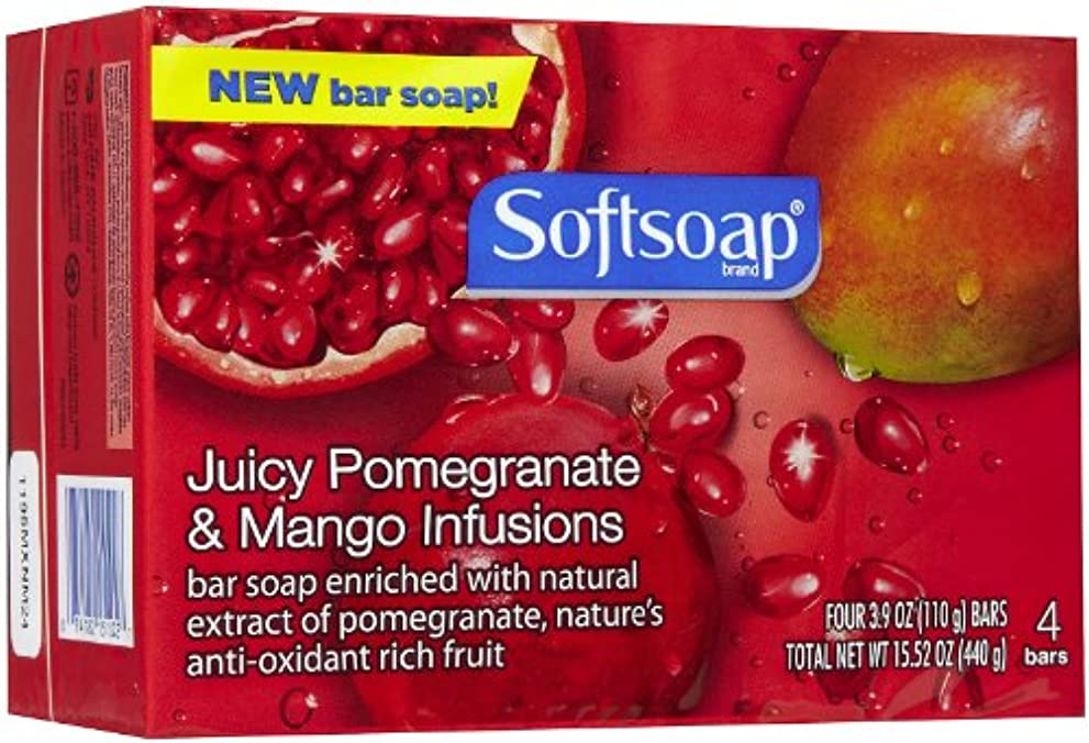 中央値シビックアクロバットSoftsoap Pomegranate & Mango Infusions Bar Soap-4 ct