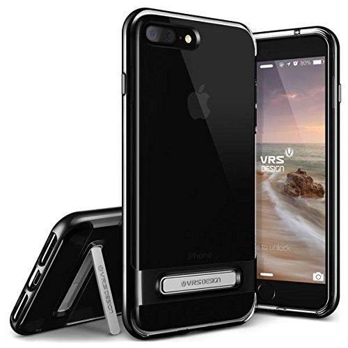 iPhone7 Plus ケース 耐衝撃 VRS DESIGN Crystal Bumper 米軍MIL規格取得 衝撃吸収 二重構造 クリア カバー キックスタンド付 [ アイフォン 7 プラス 専用 ] ジェットブラック