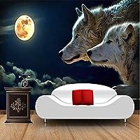 Xbwy カスタム大壁画壁紙ムーンライトウルフクラシック漫画写真の壁紙テレビソファ背景フレスコ画3D-200X140Cm