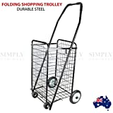 Shopping Cart Steel Carts Trolley Bag Foldable Luggage Wheels Folding Basket