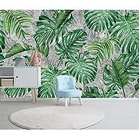Ansyny カスタム壁紙東南アジア熱帯雨林バナナの葉の背景の壁の絹材料3dの壁紙-160X120CM