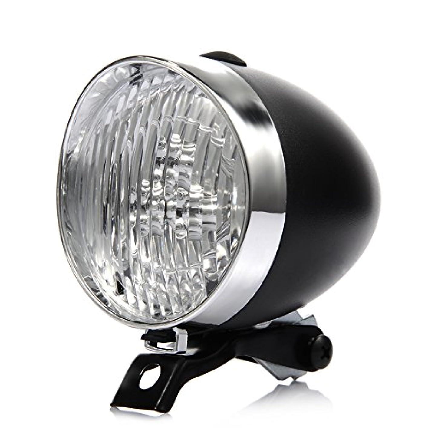 ステーキ食品時代Fastar 自転車 フロントライト LED 3灯 明るい おしゃれ かっこいい レトロ 砲弾型 自転車ヘッド 簡単 取付  配線不要 電池式  校園風 欧州風