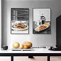 ウォールアート モダンなキッチンのテーマモノクロプリントでキャンバスがハングアップするフレームの印刷ベッドルームレディ絵画 居間および寝室のため (Color : B, Size : 30x40cm)