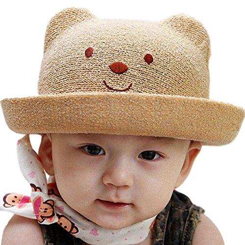 アップルスノー(applesnow) 赤ちゃんを日差しから守る ベビー 用 麦わら帽子 くま 耳 付き 男女 兼用 帽子 男の子 女の子 (頭囲48cmライトブラウン)
