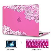 Redlai MacBook Pro Retina 15 インチ フラワープリント ハードプラスチックケース 対応モデル(A1398) Pro 15.4 インチ 専用シェルカバー ハードケース レースのプリントシェル 液晶保護フィルムと日本語キーボードカバー付き(M107 ローズ)