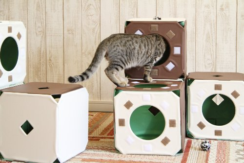 日本製 【猫ジム】 ボックス連結タイプ立体マルチ形状ねこ遊具 ボックス×5個セット