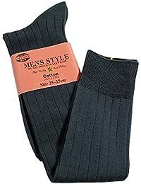 box408 (ボックスヨンマルハチ) 靴下 メンズ ハイソックス シルケット加工 リブ編み ロングホーズ