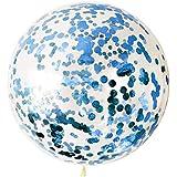 Letsparty 36インチ 紙吹雪 (ゴールド、ピンク、カラフル、マルチカラー) バルーン 5個 バルーン パーティーデコレーションやフェスティバル用 ブルー 1801_Balloon_Con_Parent