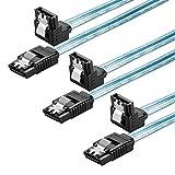 Zheino 50CM L型 7Pin SATA ケーブル SSD ケーブル HDD ケーブル 内蔵ハードディスク ケーブル 2.5 SATA ケーブル 3.5 SATA ケーブル データケーブル 光学ドライブ ケーブル セット シリアルATAケーブル SATA3 6Gb/s 精銅製ケーブル ブルー (3本)