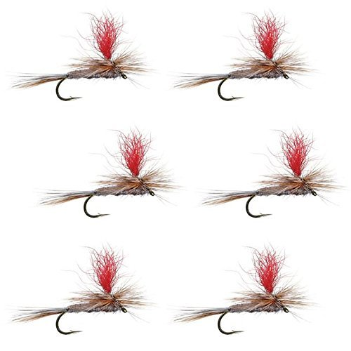 The Fly Fishing Place hi-visibilityパラシュートアダムスクラシックTrout Dry Fly Fishing Flies–セットof 6Fliesサイズ16