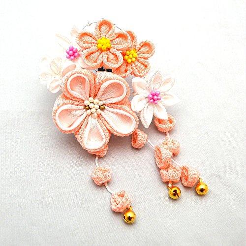 七五三 日本製髪飾り1個 6タイプ/1(ピンクと白の花)