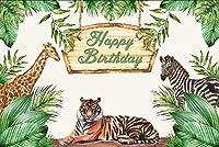 GooEoo お誕生日おめでとうを背景7x5ftビニール写真の背景水彩画テーマ動物園ゼブラキリン虎夏熱帯ジャングルの葉木パーティー装飾壁紙子供
