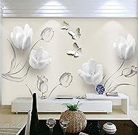 Mzznz カスタム壁画壁紙現代3Dステレオチューリップ蝶花壁画ファッションリビングルーム家の装飾壁紙3 D-400X280Cm
