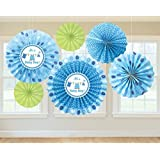 Amscan Cute Shower with Love Boy Baby Shower Party Paper Fan Decorations (6 Piece) Blue/Green [並行輸入品]