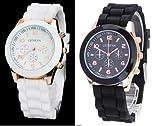 12color ビビットカラーレディース メンズOK腕時計 (ブラック)