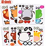 Chengu 40 Sheets Zoo Animal Stickers Animal Face Stickers Make-an-Animal Stickers for Party Favors, Crafts Supplies