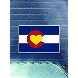 コロラド国旗ハートビニールデカールステッカー( 2パック) | CarsトラックVans壁ノートパソコンカップ|プリント| 2–4インチDecals | kcd964