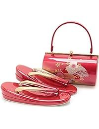 (キステ)Kisste 草履バッグセット 振袖用 <エナメル> フリーサイズ <レッド/扇に桜> 7-4-08038