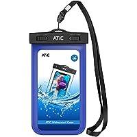 ATiC 6.0インチ以下用透明防水ケース 首掛け式 ストラップ付き 防水保護等級IPx8 iPhone Xs/iPhone XR/8 Plus/8/7/6s Plus,Honor,MOTO,LG,Nexusなどに対応している - BLUE