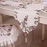 yazi-おしゃれ 花柄 テーブルランナー テーブルセンター 飾りふさ 刺繍 ジャガード アイボリー 40cmx200cm