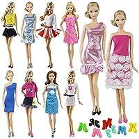 ZITA ELEMENT バービー用 きせかえ服装 ランダム 10点セット= 5セットファッションショート袖 夏の衣装 アウトレット+5バービー人形用靴