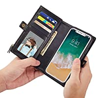 Folio Flip Wallet Case Cover iPhone 7 Plus with Multi Card/Cash Slots, Premium PU Leather Pocketsize IDs/Drive Licence Holder Caseカードスロットケースiphone (CaseStd7# - Black, for iPhone 7 Plus)