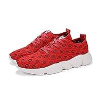 ウォーキングシューズメンズカジュアルシューズ、スニーカースポーツシューズランニングシューズ メッシュ通気軽量スリッポン靴 シークレットブーツ4cm身長アップ(黒、赤、グレー) (42, 赤)