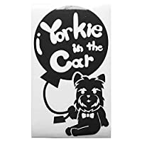 ブラック(黒) 犬 ヨークシャテリア ネクタイ 風船 Pet in the car ペット イン ザ カー ペットインカー ステッカー 窓ガラス用シールタ.