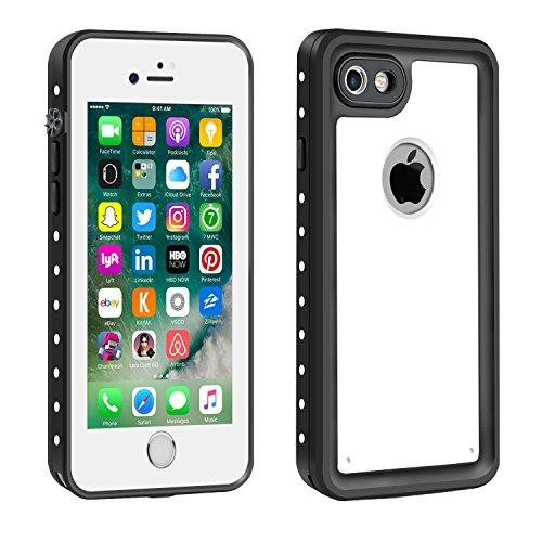 Eonfine-正規品 iPhone 7 用 防水ケース 100%防水 クリアな音質 アイフォン7ケース 防水 防塵 耐衝撃 完全防水 防雪 耐震 落下防止 IPx68 指紋認証対応 個性的 7カバー ホワイト