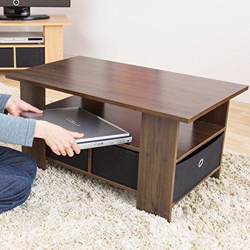 【お得な収納ケース2個付き 使いやすいセンターテーブル】(80×40cm) すっきり片付く収納テーブル 中下段で3分割 木製ローテーブル 32型テレビ台使用可 訳有り (ブラウン色)
