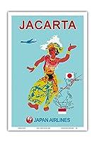 ジャカルタ - 日本航空(JAL) - ビンテージな航空会社のポスター c.1960s - アートポスター - 31cm x 46cm