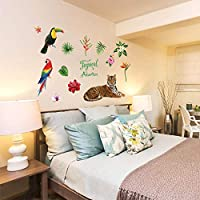 Onlymygod装飾的な壁のステッカーpvc家族熱帯虎寝室のリビングルームダイニングルームテレビの背景壁幼稚園や他の装飾的な壁44 x 50 cm