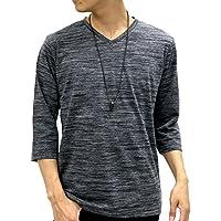 OVAL DICE(オーバルダイス) Tシャツ ネックレス セット 7分 袖 ゆる Vネック 無地 メンズ ブラック M
