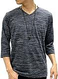 OVAL DICE(オーバルダイス) Tシャツ ネックレス セット 7分 袖 ゆる Vネック 無地 メンズ ブラック L