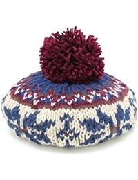 ベレー帽 ニット ボンボン 帽子 レディース ノルディック柄 秋冬 カジュアル 雪柄モチーフボンボンベレー帽