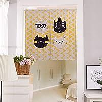DUOLUO 厚い綿のリネンのアート漫画のカーテン半分の色のパーティションのハーフカーテン寝室のポーチのバスルーム DUOLUO (Size : E)