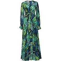 Jojckmen Women Girls Long Lantern Sleeve Dress Tropical Leaf Print Maxi Hem Dresses