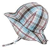 ベビー UPF50+ 紫外線防止 帽子 サイズ調整可能 あごひも付き(S: 0-9ヶ月, 夏のチェック柄)